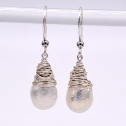 Sterling silver original design white small baroque pearl earrings silver handmade original earrings unique beautiful earrings