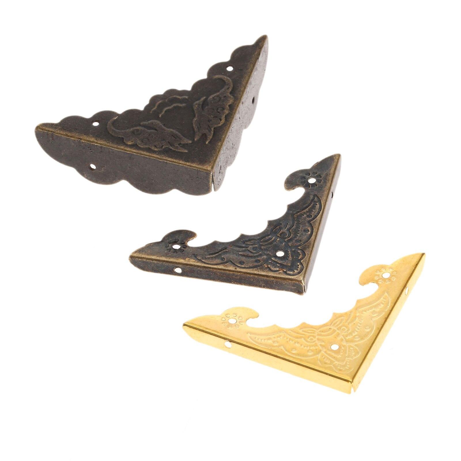 12Pcs Iron Book Scrapbooking Albums Corner Bracket Antique Brass/Gold Decorative Protectors Crafts For Furniture Hardware