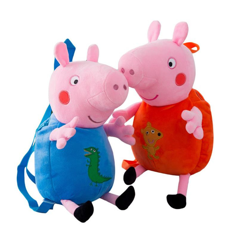 Original Peppa Pig Plush Toys Cartoon Backpack Baby School Bag Pet Soft Pelucia Stuffed Doll Children Toys Birthday Gifts