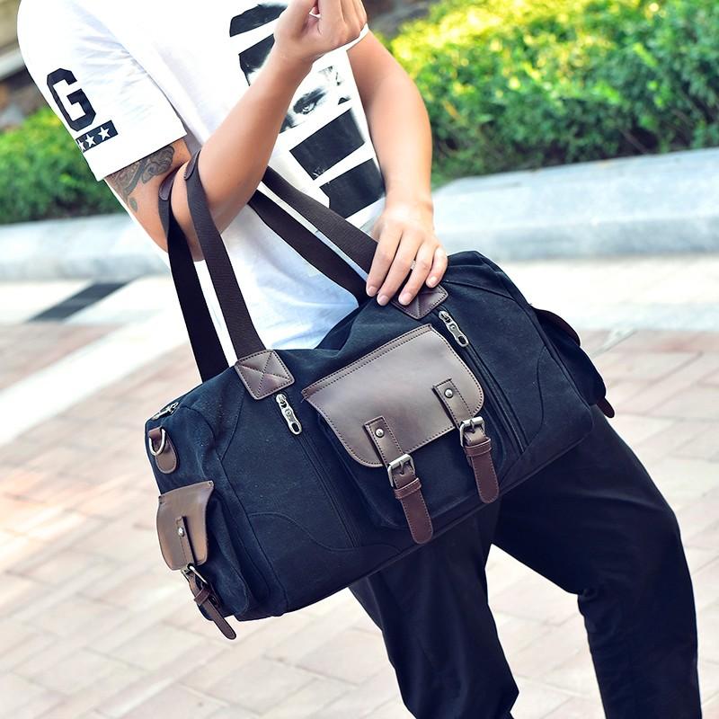 Famous Brand Men Vintage Canvas Men Travel Bags Women Weekend Carry On Luggage & Bags Leisure Duffle Bag Large Capacity Handbags (26)