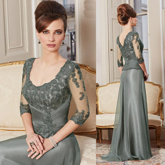 Mother Of The Bride Groom Dresses Scoop Neck 3 4 Sleeve Wedding Party Dress For
