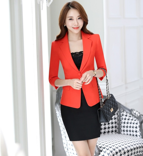 Spring Summer Slim Fashion Formal OL Styles Professional Business Work Suits With Jackets And Skirt Beauty Salon Blazers Outfits