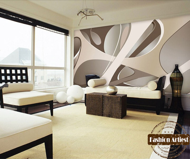 Custom Modern 3d Wallpaper Mural Abstract Art Lines Minimalist Space Tv  Sofa Bedroom Living Room Cafe