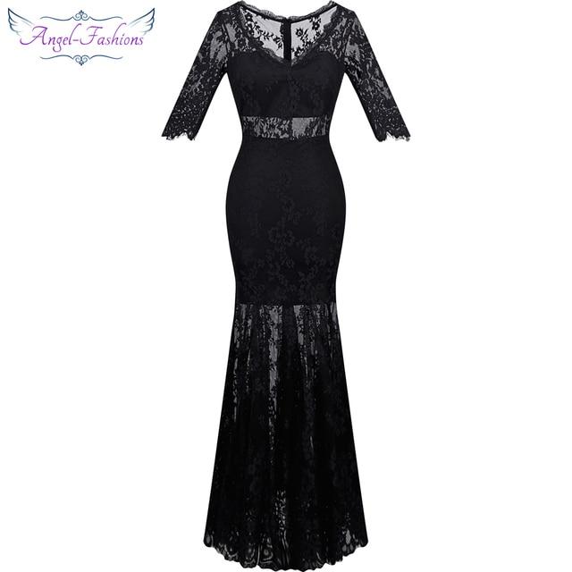 Angel fashions 1920s Vintage Evening Dresses Long V neck See Through ...