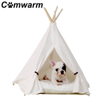 Comwarm White Pet Teepee House Pet Bed Cat Bed Pet House Portable Dog Tents Pet House