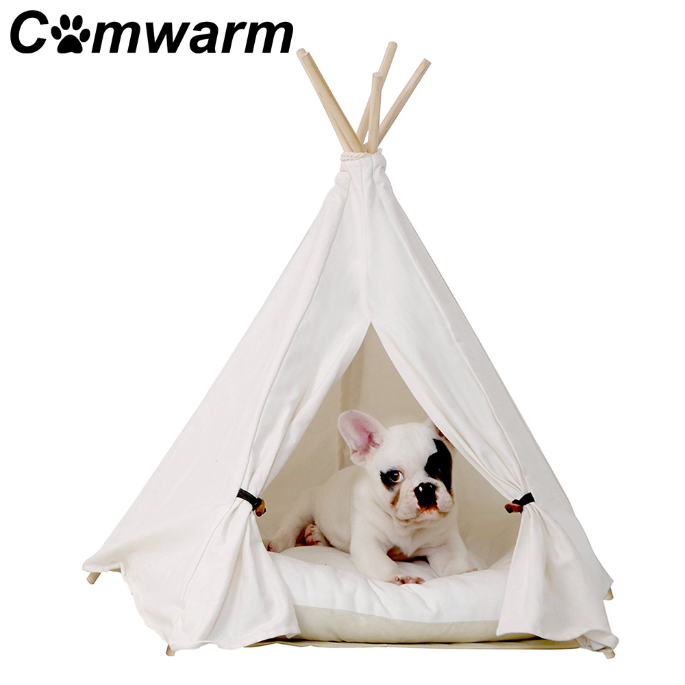 Aliexpress Com Buy Portable Dog Cat Pet Puppy Drinker: Comwarm White Pet Teepee House Pet Bed Cat Bed Pet House