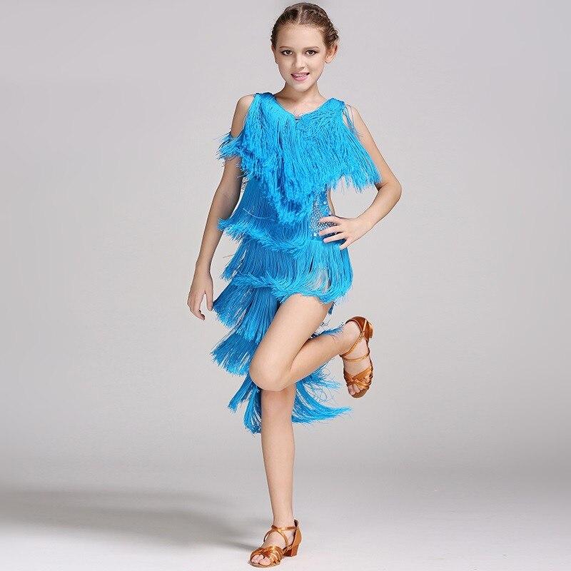 24b3cadddc61 Giallo paillettes nappa bambini vestito rosa moderno abito da ballo per le ragazze  concorso di danza latino salsa rumba vestito da ballo latino in Giallo ...