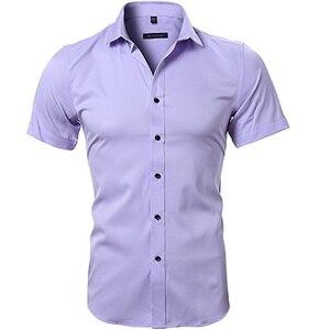 Image 4 - Blau Bambus Faser Hemd Männer 2018 Sommer Kurzarm Herren Hemden Casual Slim Fit Pflegeleicht Feste Nicht Eisen chemise Homme