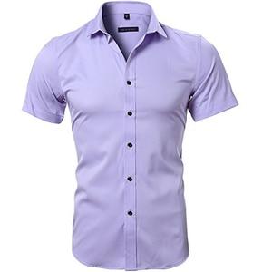 Image 4 - Blauw Bamboevezel Shirt Mannen 2018 Zomer Korte Mouw Heren Dress Shirts Casual Slim Fit Easy Care Effen Non Iron chemise Homme