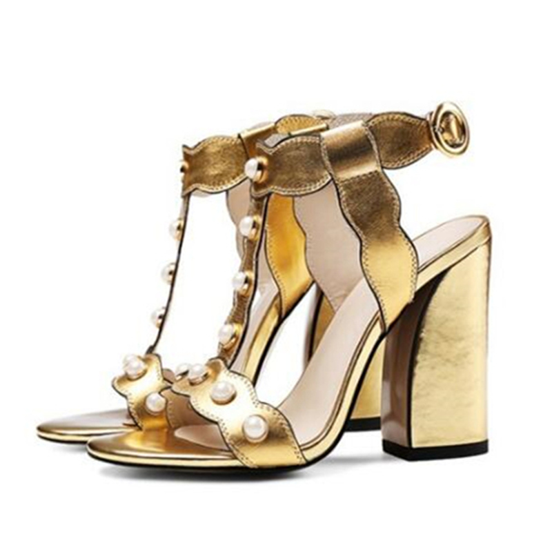 fd4d07b0f14 ... T Buckle and Woman Sandals Eunice Women Gold Strap High Choo Heels  Chunky Pearls Leather Size ...
