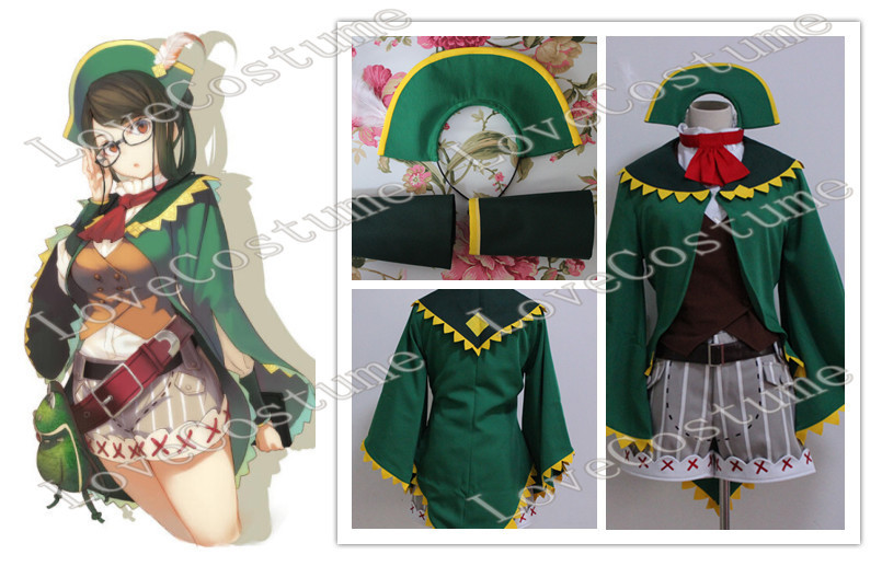 Monster Hunter 4 Kanban Green girl Cosplay Costume Tailor made(China)