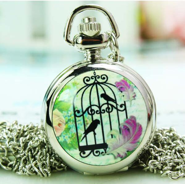 Fashion Women Silver Enamel Bird Cage Pocket Watch Necklace Birdcage Drawing Hour Clock Wholesale Buyer Price Good Antibrittle