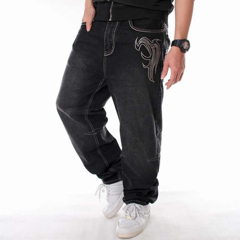 Mannen Street Dance Hiphop Jeans Mode Borduren Zwart Losse Board Denim Broek Totale Mannelijke Rap Hip Hop Jeans Plus Size 30-46