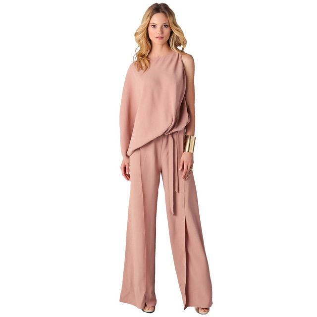 Women New Arrival 2018 High Quality Casual Party One Sleeve Big Size  Elegant Pink Loose Long Pants Formal Romper Jumpsuit 305373 8324a0767e96