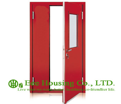 Commercial Steel Fire Doors With Glass Vision, 60 Minutes Fire Rated Door Steel Fire Door With Panic Push Bar And Door Lock