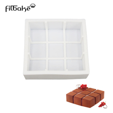 Mousse Cake Pan 9 Square Dice Cube Shaped Silicone Baking Molds for Decorating