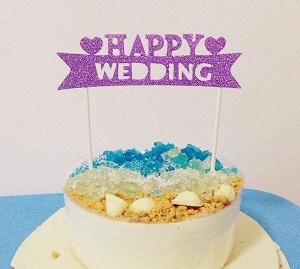 """4PCS / LOT Gilsten """"HAPPY WEDDING"""" Velkoformátové 15cm dorty na dorty"""