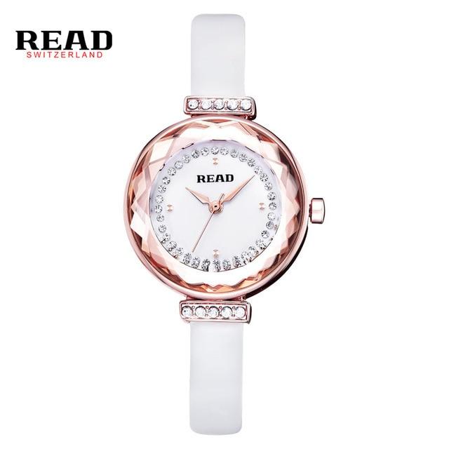 2016 New READ Luxury Brand Quartz Women Watches Diamond Clock Bracelet Ladies Dress Gold Wristwatch with Gift Box female R28039