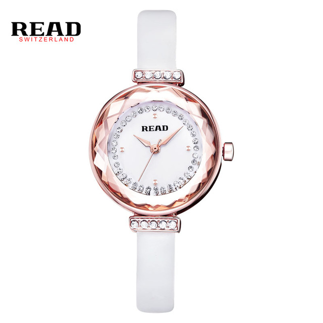 2017 New READ Luxury Brand Quartz Women Watches Diamond Clock Bracelet Ladies Dress Gold Wristwatch with Gift Box female R28039