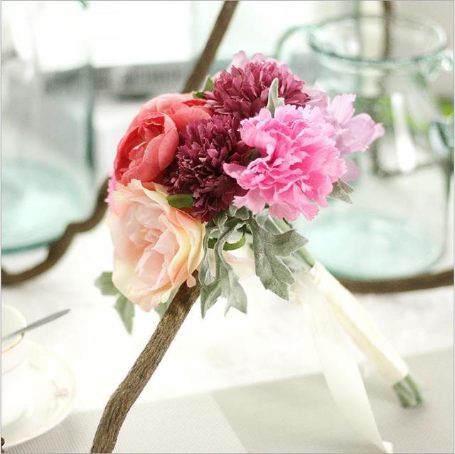 Seidenblume Hochzeit Bouquet Rosen Dahlien Kunstliche Blumen Herbst