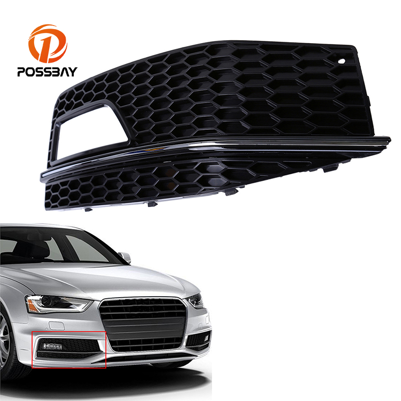 POSSBAY Right Side Fog Light Grille Cover Front Lower Bmper Grilles for Audi A4 B8 2012/2013/2014/2015 facelift Car Accessories for audi a4 b8 s4 a4 allroad 2008 2009 2010 2011 2012 2013 2014 2015 car styling right side led fog light fog lamp