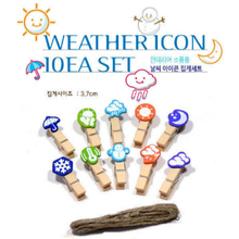 10PCS Weather cloud snow moon Wooden Clothespin Office Supplies Photo Craft Clips DIY Clothes Paper Peg Party Decoration