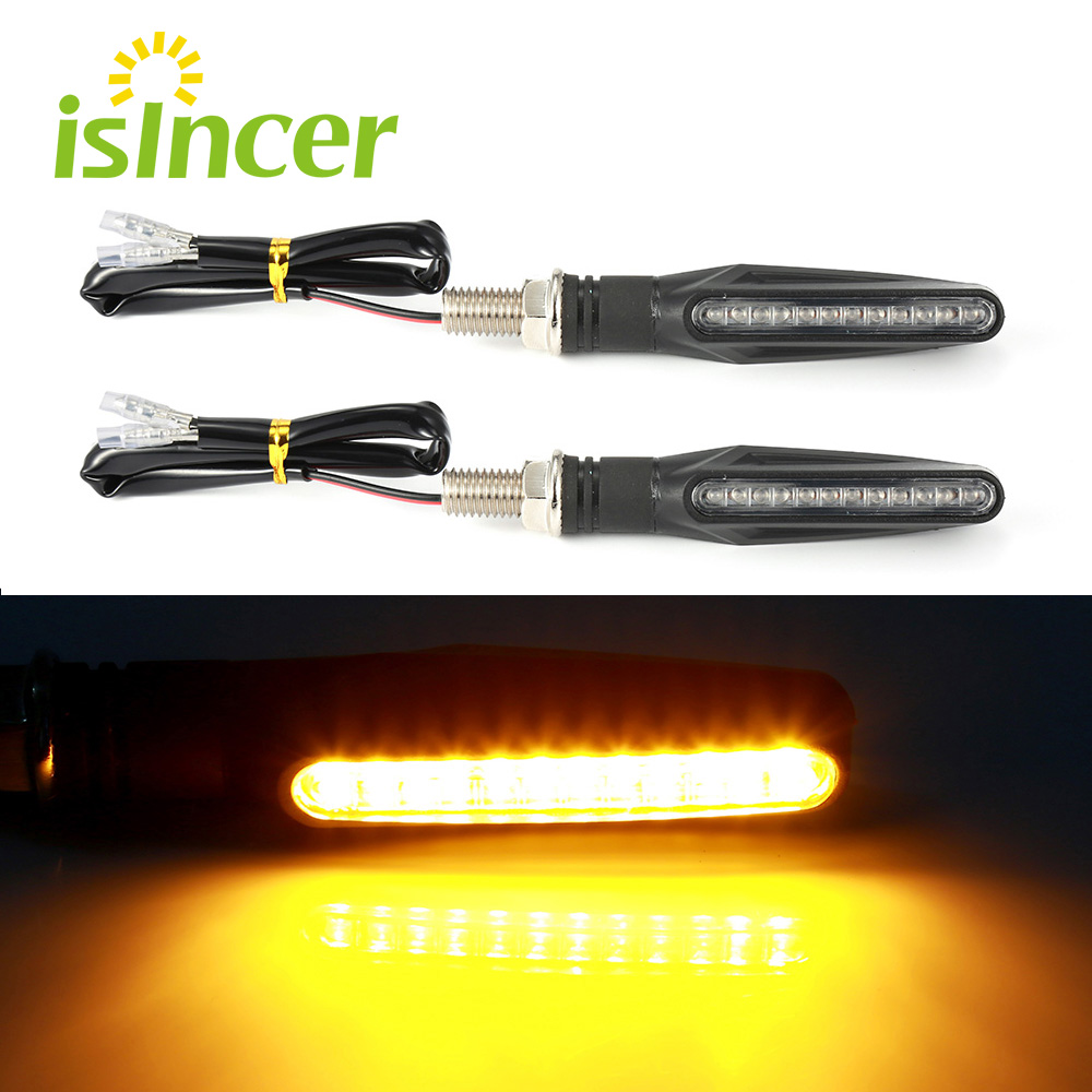 2 pieces Motorcycle Turn Signal Light Flexible 12 LED Turn Signals Indicators Universal Blinkers Flashers for Honda GROM MSX125 цена
