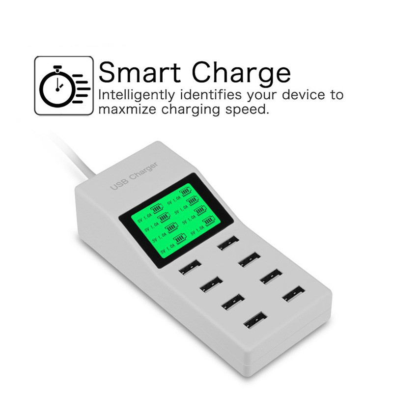 8 Ports USB Wall Charger LED Display Screen US EU UK Plug Adapter Mobile Phone Charger for iPhone Samsung Xiaomi USB Charger