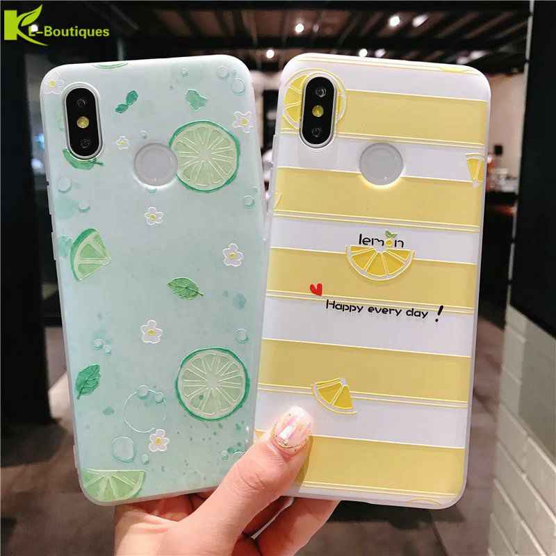 P20 lite Case on for Huawei P20 Lite Cases for Huawei P 20 Pro P20 Cover 3D Relief Watermelon Lemon Soft TPU Silicone Back Cover