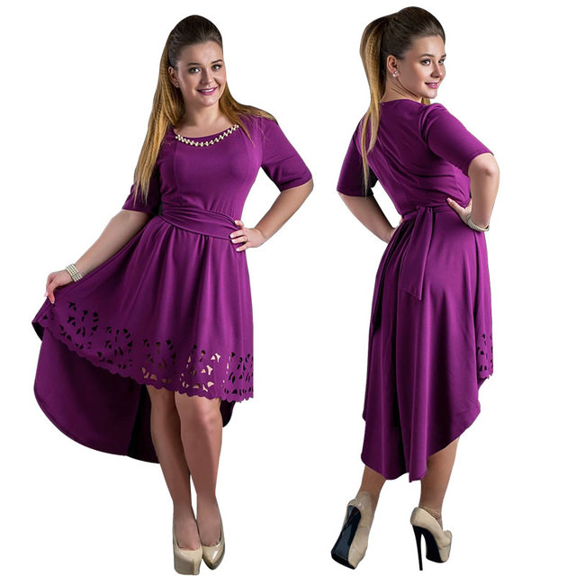 Plus Size High-Low Hollow Out Flare Casual Dress 5
