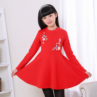 Autumn and winter new plus cashmere embroidery flowers long sleeves A word in dresses for girl performing costumes 4T 5T 6T 7T