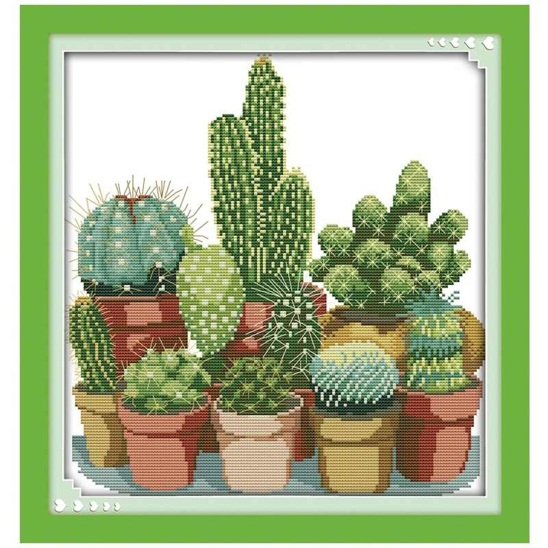Cactuses (2) Patterns Counted Cross Stitch 11CT Printed 14CT Cross Stitch Sets Chinese Cross-stitch Kits Embroidery Needlework