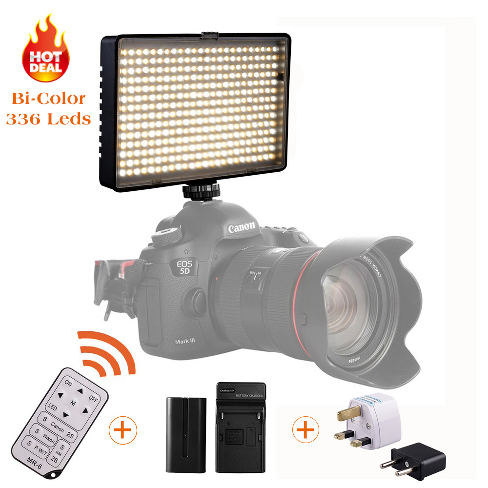 Travor BiColor TL-336A LED Video Light on Camera Light for Canon Nikon Sony DV Camcorder+NP-F550 battery+Charger+remote control