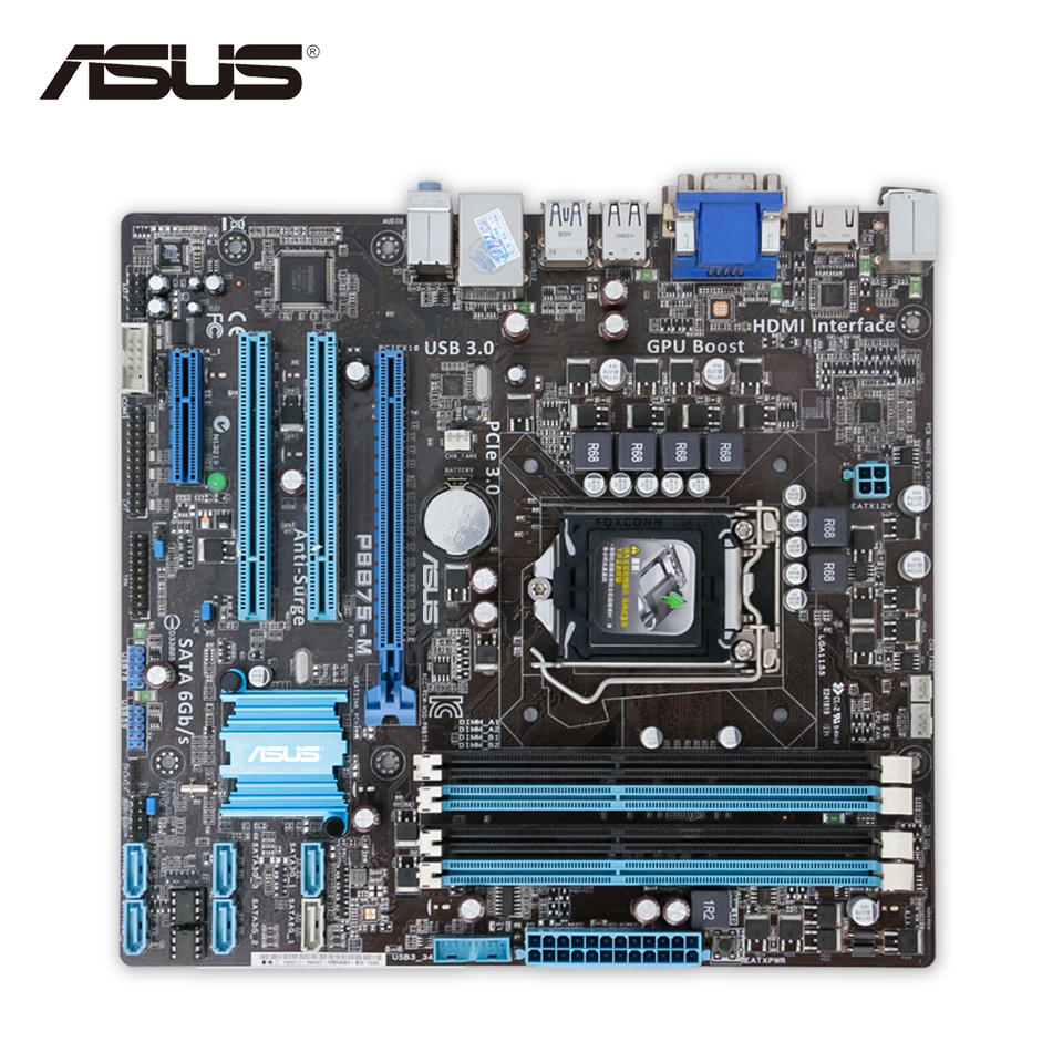 Asus P8B75-M Desktop Motherboard B75 Socket LGA 1155 i3 i5 i7 DDR3 SATA3 USB3.0 uATX On Sale asus p8h67 m lx desktop motherboard h67 socket lga 1155 i3 i5 i7 ddr3 16g uatx on sale