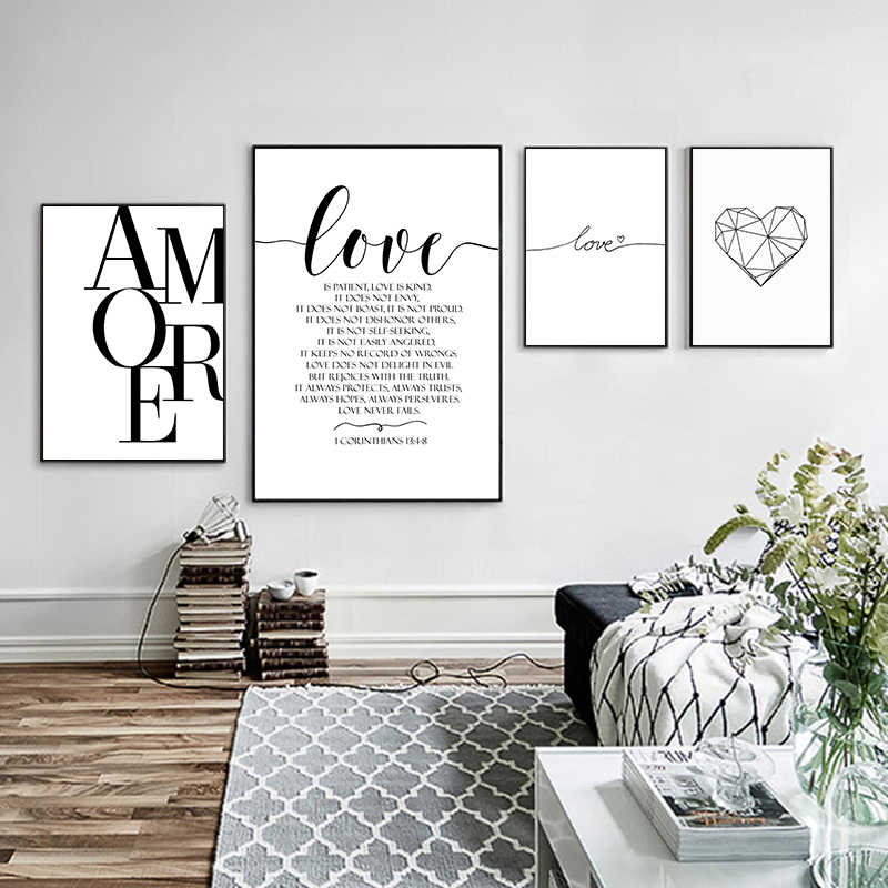 Scandinavian Style Love Quote Poster Black and White Canvas Painting Amore Wall Pictures For Living Room Nordic Decoration Art