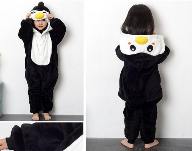 3d860b455494 Halloween Kids Costume cartoon Animal Penguin onesie pajamas