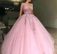 Pink Ball Gown Quinceanera Dresses Princess Puffy Appliqued Sleeveless Formal Sweet 16 Girls Party Gowns Plus Size