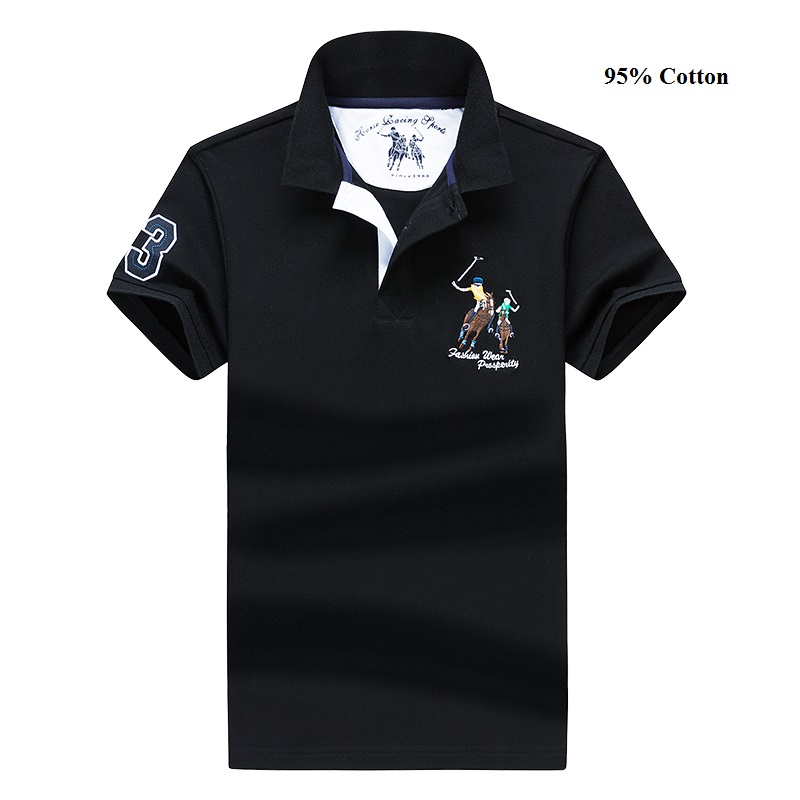 Business Casual Men's   Polo   Shirt Sports Digital Embroidery Short-Sleeved Shirt Cotton Anti-Pilling Shirt Size M-4XL;YA210