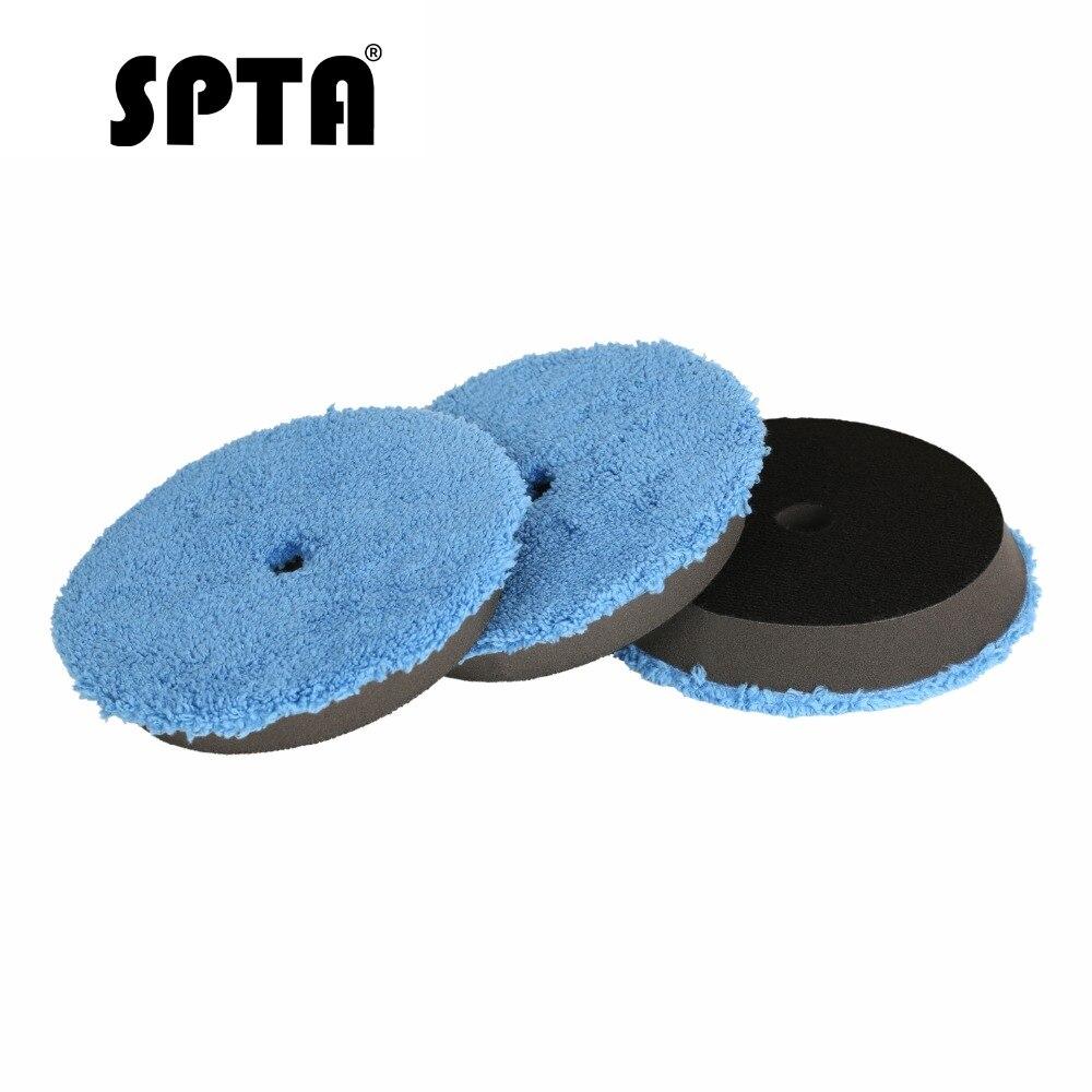 SPTA 3Pcs 6 polegada (150mm) rápido Acabamento Polimento Pad Almofadas de Polimento Tampão Lustrando Pad Kits Micro Fibra Para DA/RO Polidor de Carro