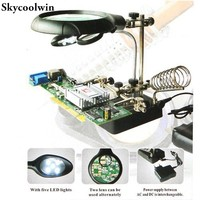 Magnifying Glass Loupe Desktop Magnifier With Led Loupe Vergrootglas Tercera Mano Helping Third Hand Soldering Lentes