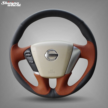 Shining wheat Hand-stitched Black Brown Leather Steering Wheel Cover for Nissan Teana 2008-2012 Murano 2009-2014