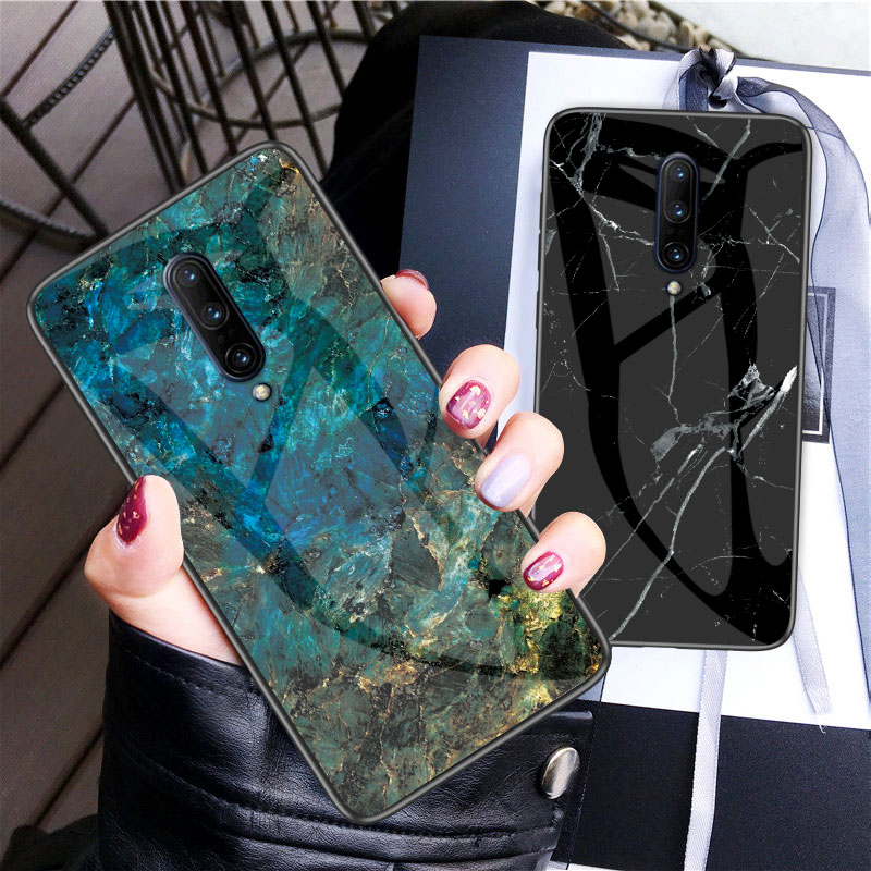 OnePlus 7 Pro Case Marble Skin Grain Tempered Glass OnePlus One Plus 7 6 6T 5T 5 Fundas Back Protective Shell Cover Capa Cases