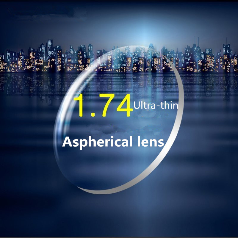 1.74 indice haute définition Prescription lunettes lentilles asphériques résine myopie Ultra-mince 2 pièces pour une paire