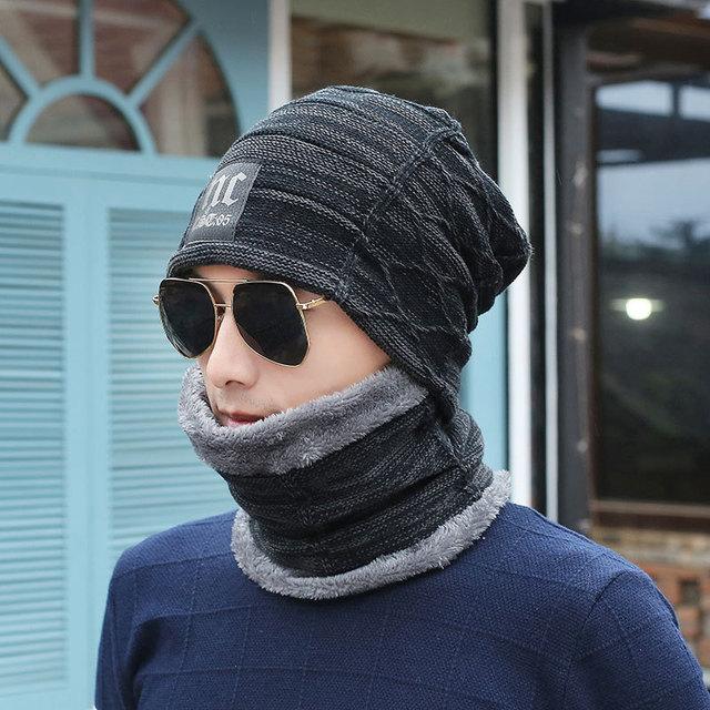 84e740323de Winter Hat Skullies Beanies Men Women Knitted hat Scarf Winter Cap Mask  Balaclava Bonnet Cap Wool