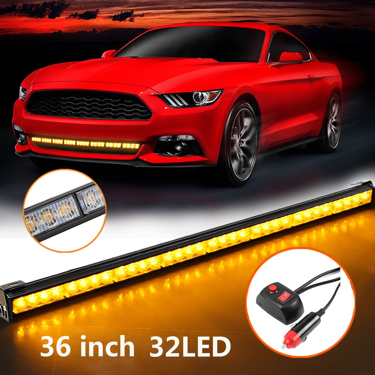 цена на New 32 32 LED Emergency Traffic Advisor Light Bar Flash Strobe Amber Yellow Durable Quality Auto Signal Lamp Car Lights