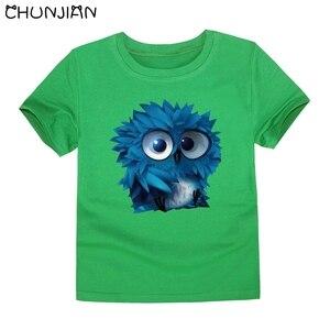 Детская футболка с короткими рукавами; Детские футболки с изображением совы и животных для мальчиков и девочек; Цветная футболка; Детские т...