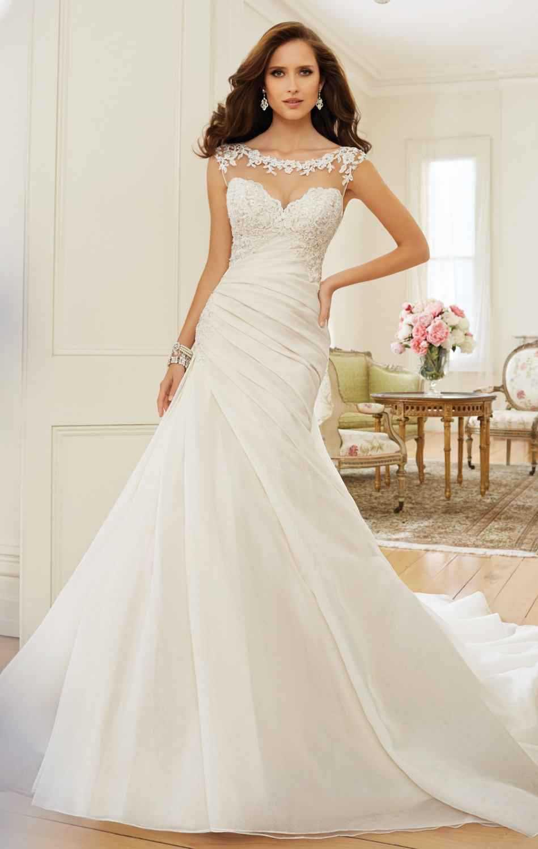 1b7d2267f7 Beaded Lace Cap Sleeve Wedding Dress