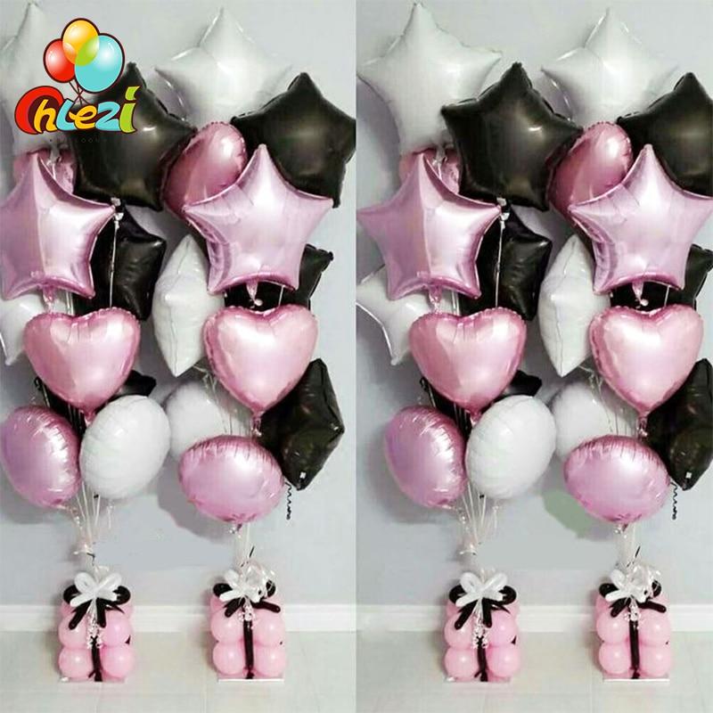 10 шт 18-дюймовый Круглый воздушный шар в форме сердца, черный, белый, розовый надувной Гелиевый шар для свадьбы, дня рождения, рождественской ...