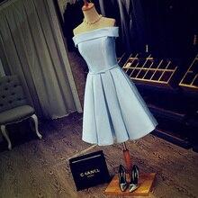Vestido De Festa Sexy Off Shoulder Boat Neck Knee Length Satin Party Dress A Line Custom Made Light Blue Short Prom Dresses
