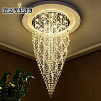 Diseño espiral largo luz lámpara cristalina moderna de lujo champagne lustre cristal lámpara escalera lámpara led Dia60 * H100cm